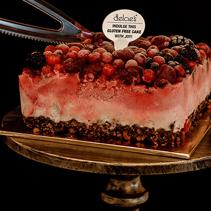 5in Square Mixed Berry Nutty Ice Cream Cake: Eggless Cake Singapore