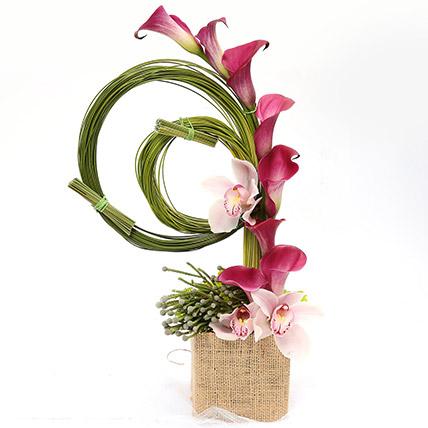 Aesthetic Calla Lilies and Cymbidium Arrangement: Table Arrangements