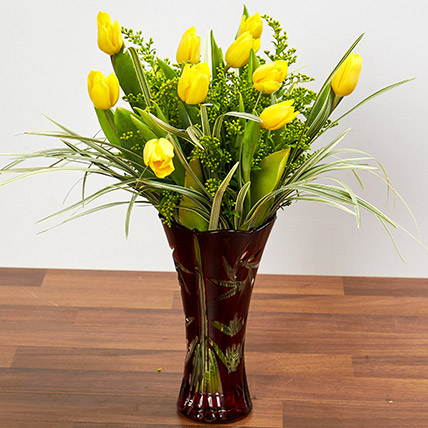 Bright Yellow Tulips In Maroon Vase: Tulip Bouquet