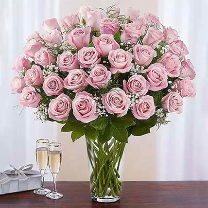 Bunch of 50 Gorgeous Pink Roses: Anniversary Gift Ideas