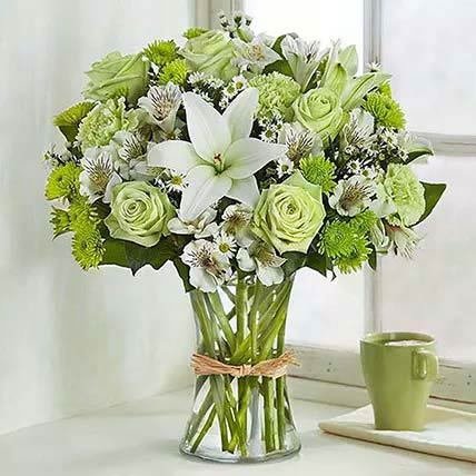 Bunch Of Green and White Flowers: Gift Delivery on Same Day