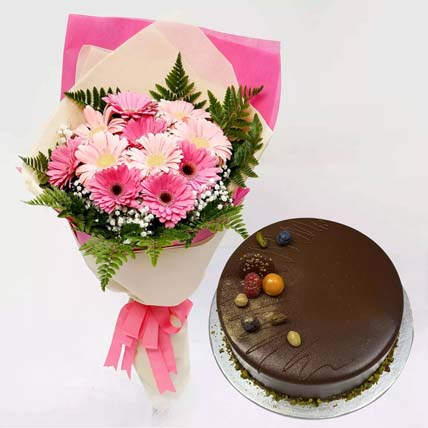 Chocolate Cake and Pink Gerbera Bouquet: Gifts Combos