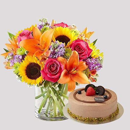 Chocolate Cake and Vivid Floral Vase: Birthday Gift Delivery Singapore