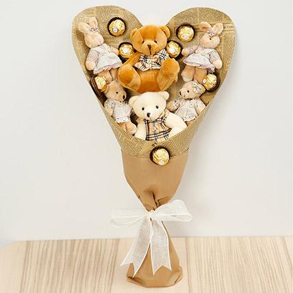 Chocolates and Teddy Bear Bouquet: Chocolates For Birthday
