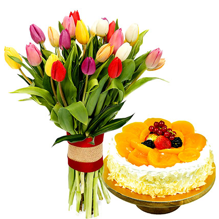 Colourful Tulips Bunch and Chocolate Cake: Flowers and Cake Delivery