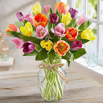 Colourful Tulips In Glass Vase: Flowers For Birthday