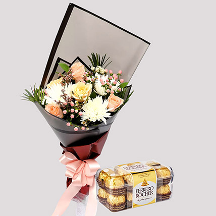 Delicate Rose Bouquet and Ferrero Rocher Box: Anniversary Flowers And Chocolates