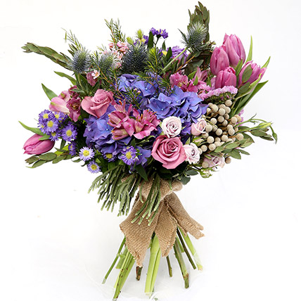 Elegant Mixed Roses and Tulips Bouquet: Tulip Bouquet