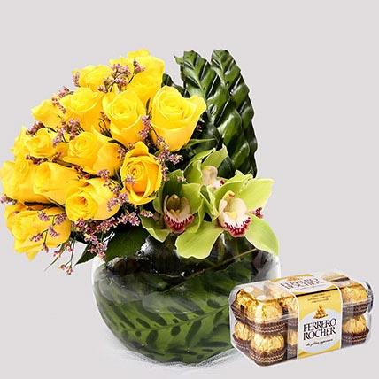 Ferrero Rocher Box and Yellow Rose Grace: Anniversary Flowers And Chocolates