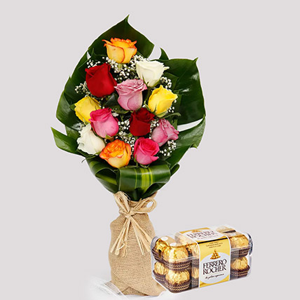 Flamboyant Roses and Ferrero Rocher Box: Flower N Chcocolates For Anniversary