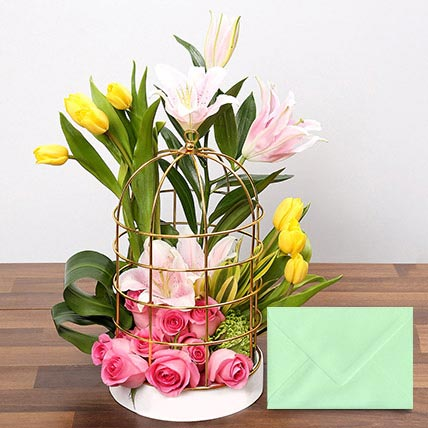 Floral Cage Arrangement With Greeting Card: Flowers & Greeting Cards