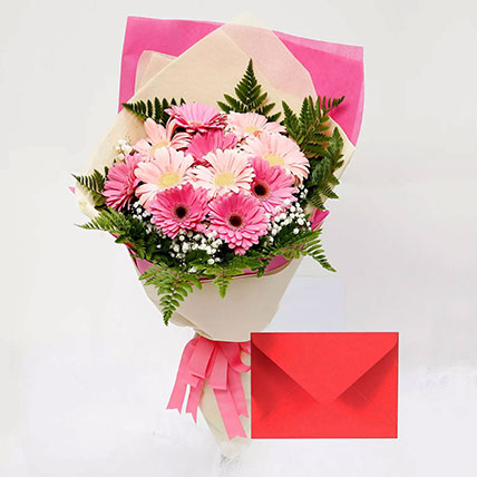 Greeting Card and Pink Gerbera Bouquet: Flowers & Greeting Cards