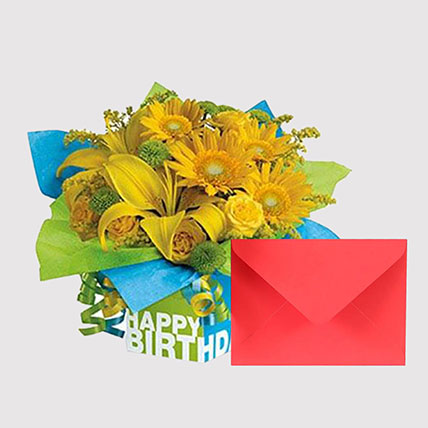 Greeting Card and Sunshine Floral Combo: Birthday Gift Delivery Singapore
