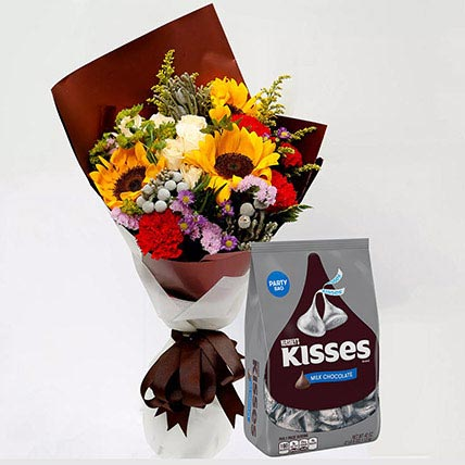 Hersheys Kisses Chocolates and Beautiful Floral Bouquet: Flower N Chcocolates For Anniversary