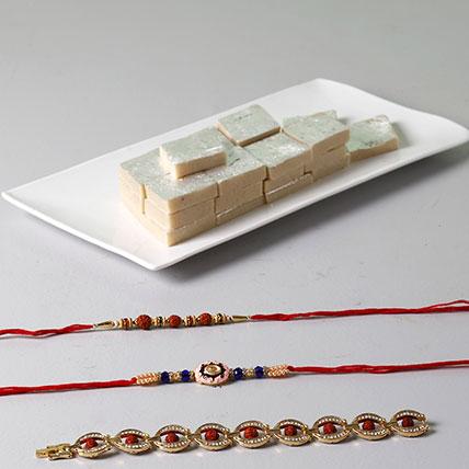 Kaju Katli And Designer Rakhis For Brother: Rakhi Gifts