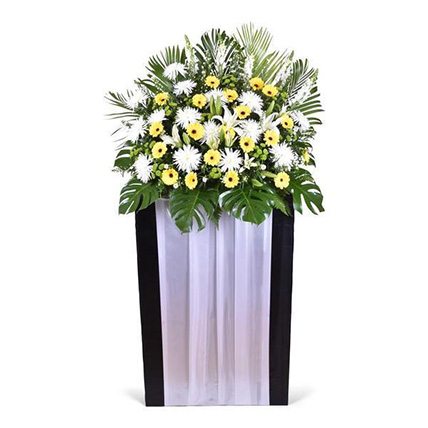 Lilies And Gerbera Stand: Funeral Flowers