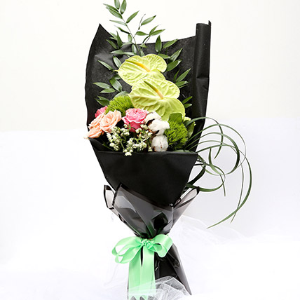 Mix Floral Bouquet With Roses and Carnations: Carnations