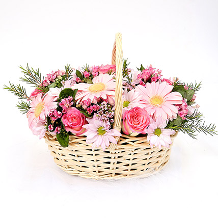 Mixed Basket Of Chrysanthemums and Roses: Gerbera Flowers