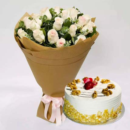 Mocha Cake and Peach Rose Bouquet: Flowers With Cake