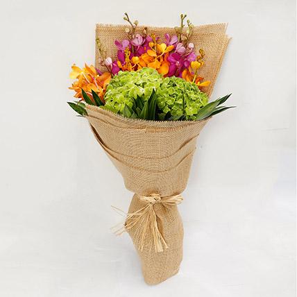 Mokara Orchids and Hydrangea Bouquet: Orchid Bouquet