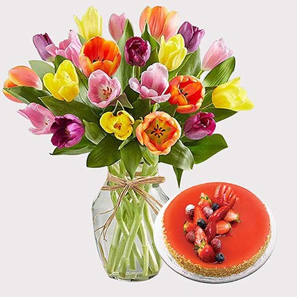 New York Cheese Cake and Colourful Tulips: Flowers With Cake