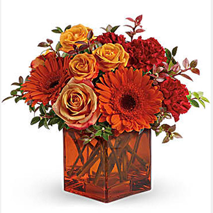 Ornamental Orange Floral Arrangement: Halloween Gifts