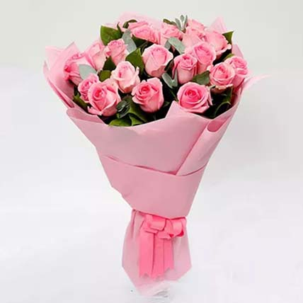 Passionate 20 Pink Roses Bouquet: Bunch of Flowers