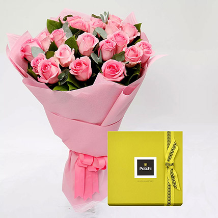 Patchi Chocolate Box and Pink Rose Bouquet: Gifts Combos