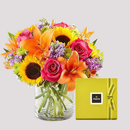 Patchi Chocolate Box and Vivid Floral Vase: Anniversary Flowers And Chocolates
