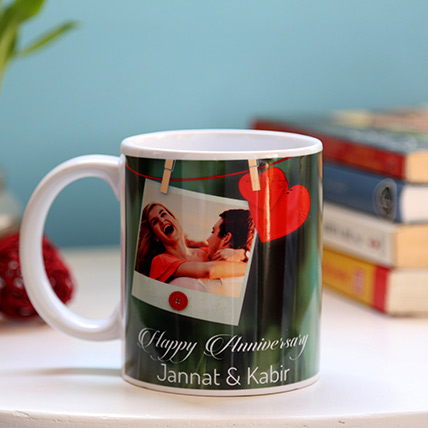 Personalised Anniversary Heart Mug: Personalised Anniversary Gifts