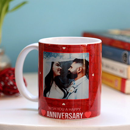 Personalised Anniversary Red Heart Mug: Anniversary Gift Ideas