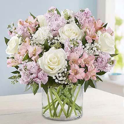 Pink and White Floral Bunch In Glass Vase: Birthday Gift Delivery Singapore