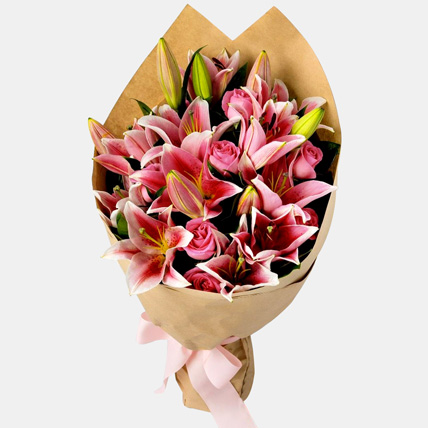Pink Passion Lilies Bouquet: Lily Bouquets