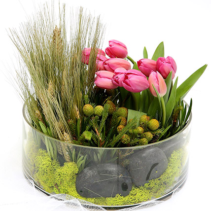 Pink Tulips With Pebbles Glass Vase Arrangement: Tulips