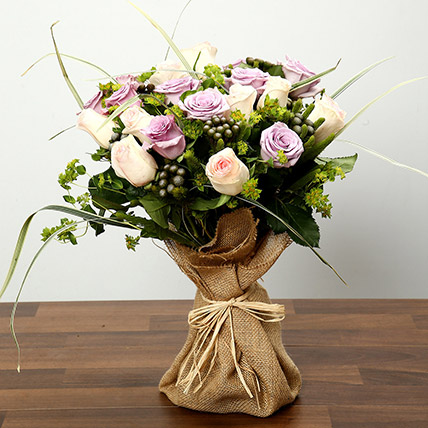 Purple and Peach Rose Bouquet: Flower Bouquets