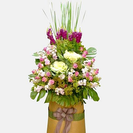 Purple and White Flower Arrangement: Flowers for Sympathy and Funeral