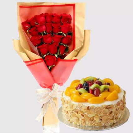 Red Roses and Cookie Cream Cheesecake: Flowers and Cake Delivery