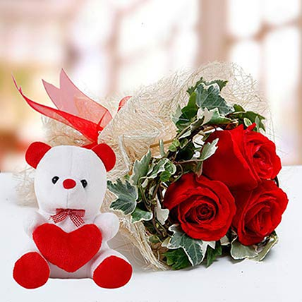 Red Roses and White Teddy Combo: Roses