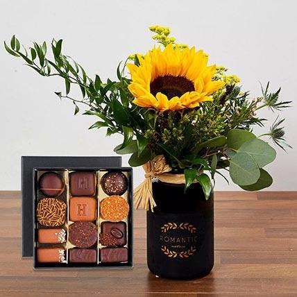 Sunflower Arrangement and Chocolates: Flowers And Chocolates
