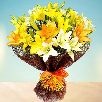 Sunny Asiatic Lilies: Lily Bouquets