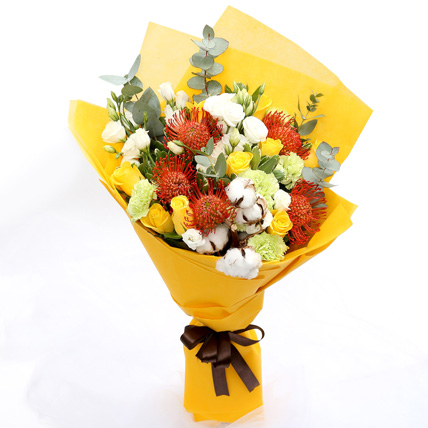 Sunshine Roses and Protea Flower Bouquet: Flowers For Birthday