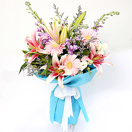 Sweet Gerberas and Lavender Flower Bouquet: Lily Bouquets