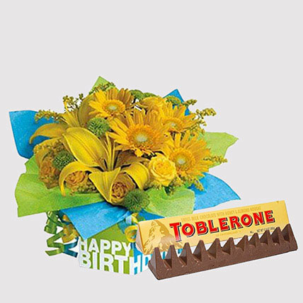 Toblerone and Sunshine Floral Combo: Flowers With Chocolates