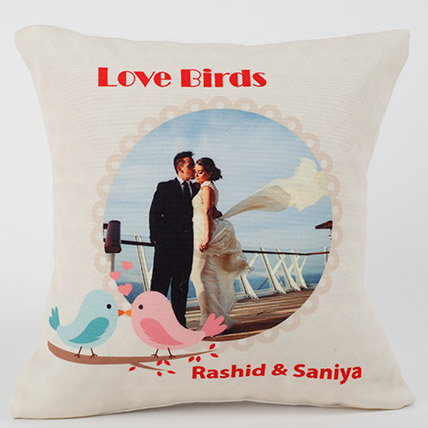 Love Birds Personalized Cushion: Personalised Gifts Singapore