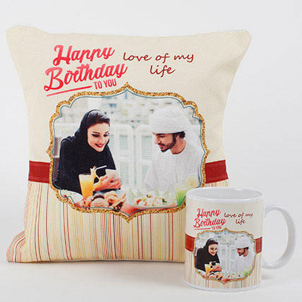 Romantic Personalized Mug N Cushion: Personalised Combo Gifts