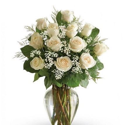 12 White Roses Arrangement: Gifts for Parents