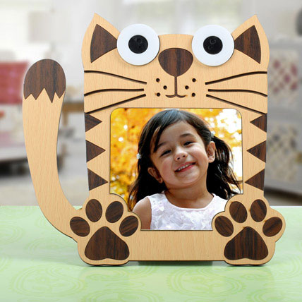 Cat Shaped Personalized Frame: New Born Gifts