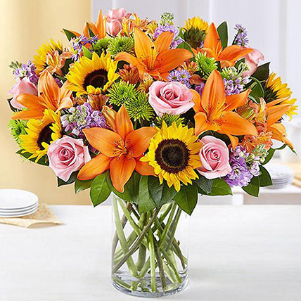 Vibrant Bunch of Flowers In Glass Vase: Gift Ideas