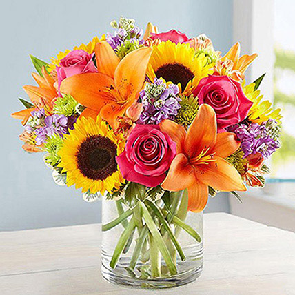 Vivid Bunch Of Flowers In Glass Vase: Get Well Soon Flowers
