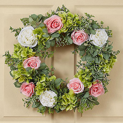 Beautiful Wreath of Roses and Hydrangea: Hydrangeas Flowers